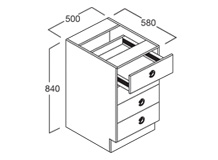 4 Drawer Bench Cupboard