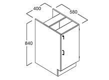 Shallow - Bench Cupboard 400